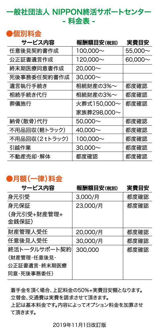 料金表|NIPPON終活サポートセンター